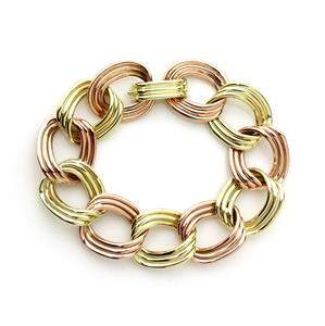 Vintage 14k Rose & Yellow Gold Triple Wire Large Curb