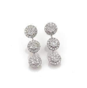 3.00 Carats Diamond 18k White Gold Triple Rosette Long