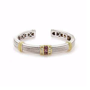 Judith Ripka 1.12ct Diamond Garnet Sterling 18K YGold