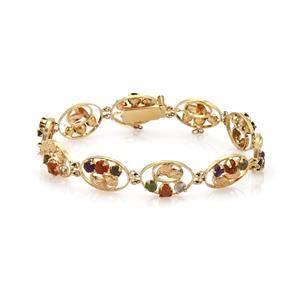 Vintage Multi-Color Gemstones 18k Yellow Gold Floral