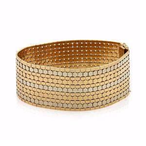 18k Gold 29mm Wide Soft Flex Octagon Style Bracelet