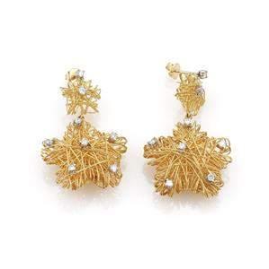 Estate 1 Carat Diamond 18k Gold Wire Mesh Stars Dangle