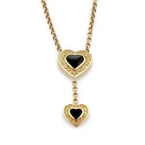 14k Yellow Gold Onyx Double Heart Dangle Pendant &