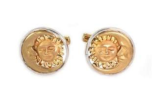 Vintage 14k Two Tone Gold Moon & Sun Face Round