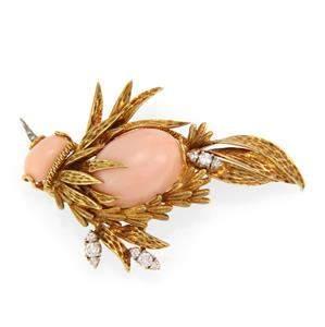 Vintage Diamond Coral 18k Yellow Gold Large Bird Brooch