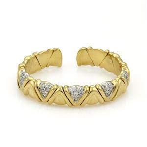18k Yellow Gold 75 points Diamond Fancy Cuff Bracelet