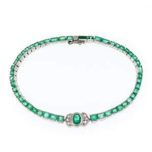 Vintage 9.06ct Emerald 18k White Gold Flex Link
