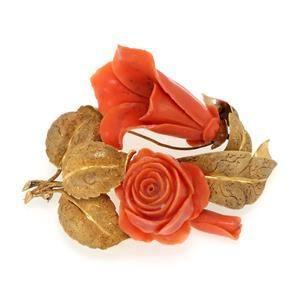 Vintage 14k Yellow Gold Carved Coral Flower & Leaves