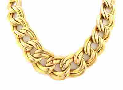 Estate 14k Yellow Gold Graduated Double Link Collar