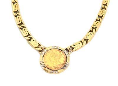 Estate Diamond 22k Queen Head Gold Coin 18k Pendant