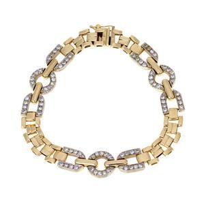 14k Two Tone Gold & Diamond Fancy Link Bracelet