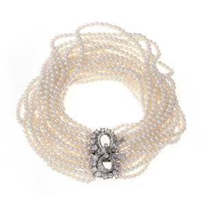Estate1.75ct Diamond 18 Strand Pearls Platinum Bow