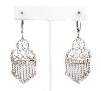 Estate Diamond 14k White Gold Fancy Chandelier Earring
