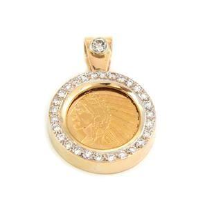 Estate 1ct Diamond 22k Indian Head Gold Coin 14k Gold
