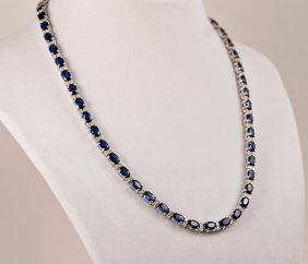 Ladies 14k White Gold Diamond and Sapphire Necklace.