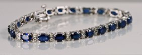 Ladies 14k White Gold Diamond And Sapphire Bracelet - M