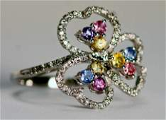 Ring Diamond and Multi Color Sapphires 18k White gold.