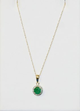 Diamond and Emerald Necklace 14k Yellow Gold.