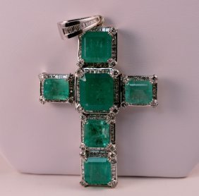 One of a kind Diamond and Emerald Cross.