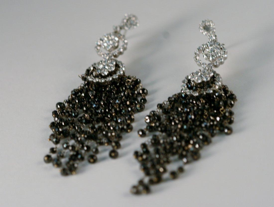Designer 18k Gold Black and White Diamond Earrings.
