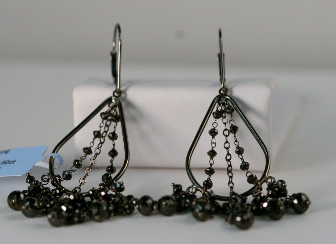 18k Gold Black Diamond Drop Eearrings.