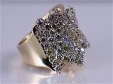 14k Yellow Gold Multi Color Diamond Ring.