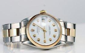 Rolex Gents 2tone, Custom White Diamond Dial