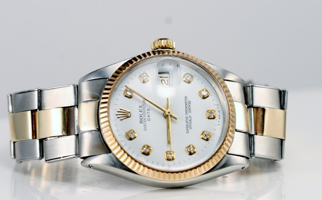 11: Rolex Gents 2tone, Custom White Diamond Dial