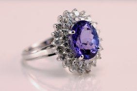 AIG Appraised $11,315.00  Diamond & Tanzanite Ring