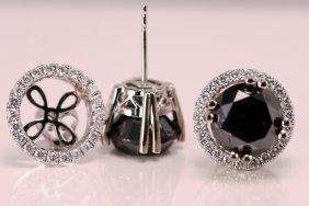 15: ER Black & White Diamonds 14k Wt Gold