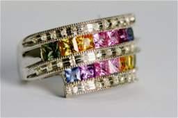 42: Ladies Diamond and Multi Color Sapphire Ring.