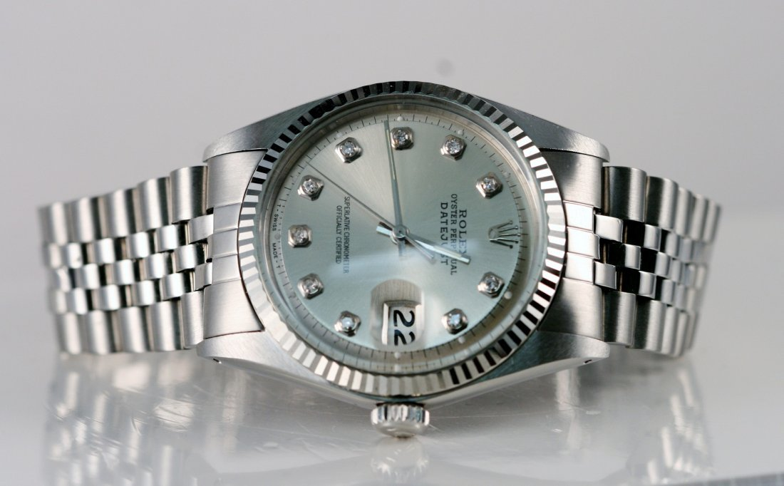 10: Rolex Gents with Silver Diamond Dial.