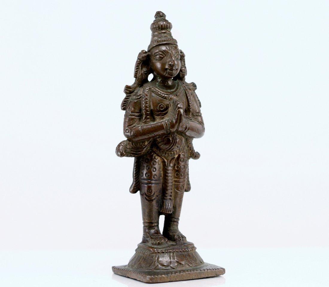 16: ANTIQUE MINATURE INDIAN BRONZE STANDING DEITY
