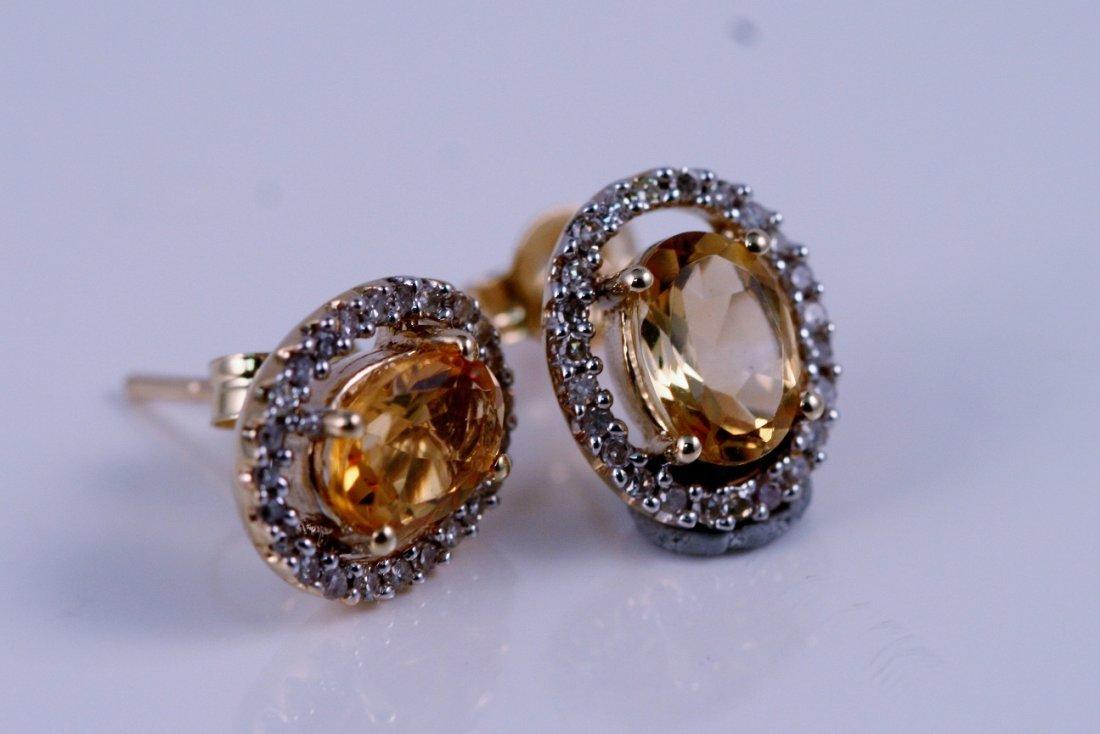 20: 14K YELLOW GOLD DIAMOND AND CITRINE EARRINGS