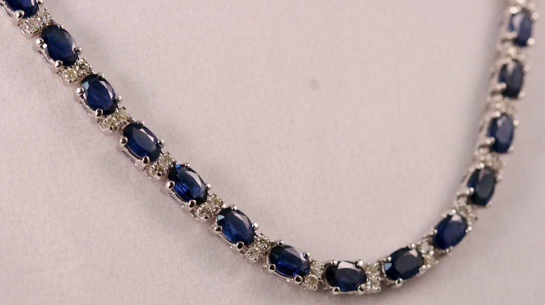22: Ladies 14k White Gold Diamond and Sapphire Necklace
