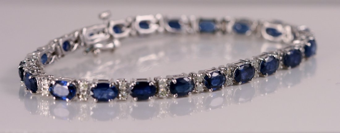 23: Ladies 14k White Gold Diamond and Sapphire Bracelet