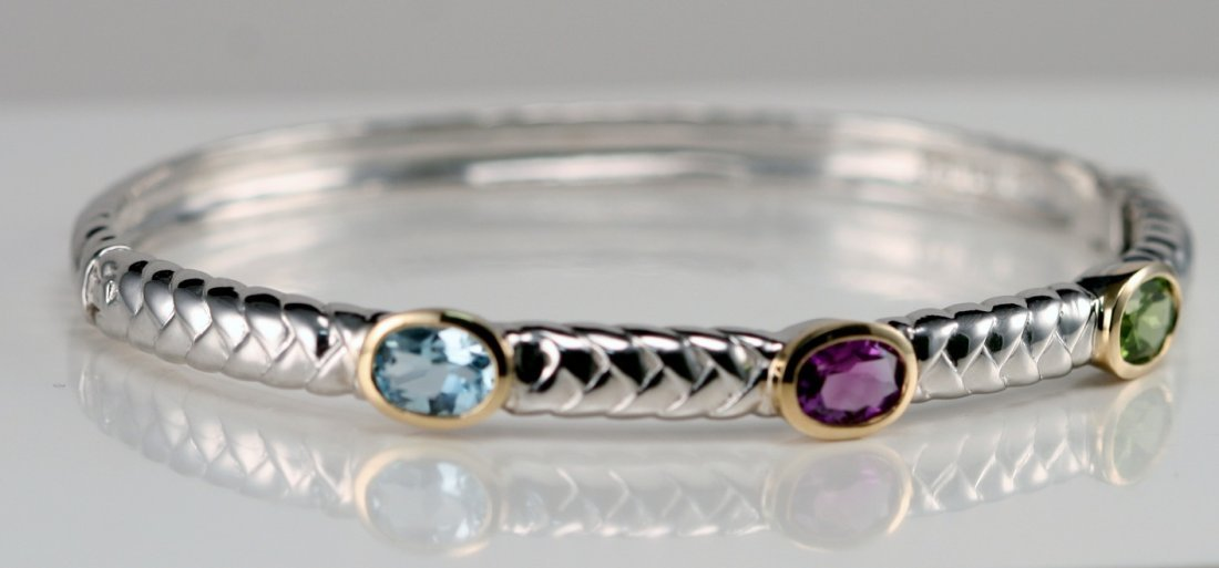GOLD & SILVER BANGLE WITH GEM STONES