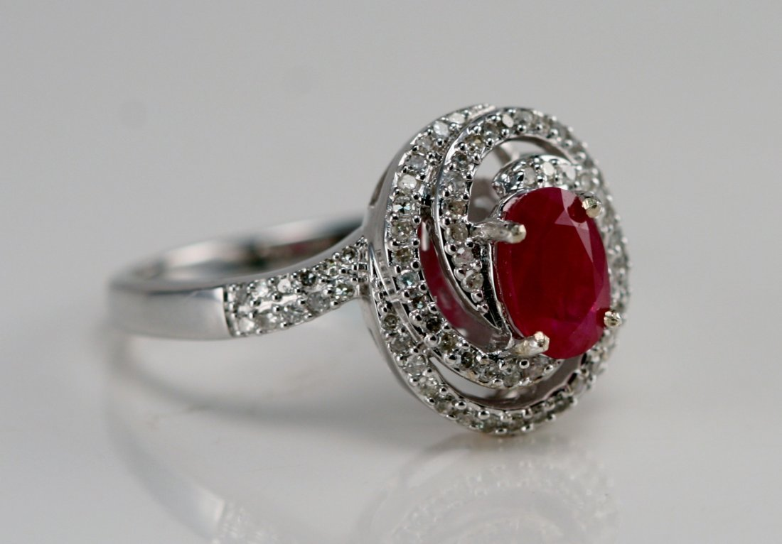 14K WT RING DIAMONS AND RUBY