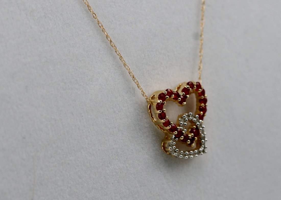 14K Y GOLD DIAMOND & RUBY NECKLACE HEART NECKLACE