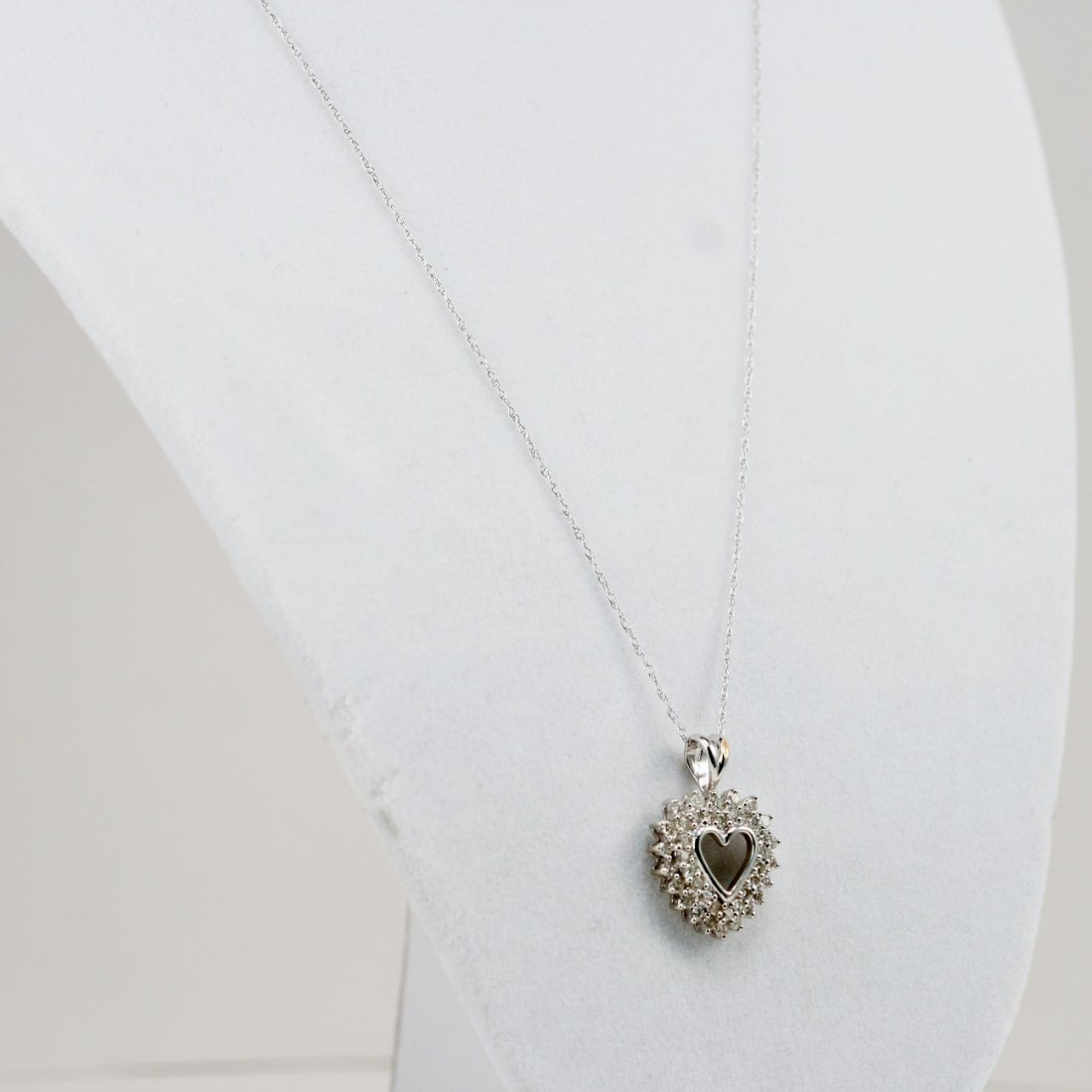 14K WT DIAMOND HEART PENDANT