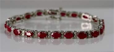 Ladies 14k White Gold Diamond and Ruby Bracelet  match