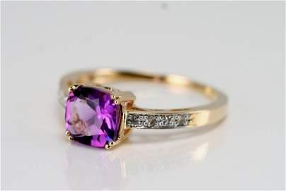 14K Y/G DIAMOND & AMETHYST RING
