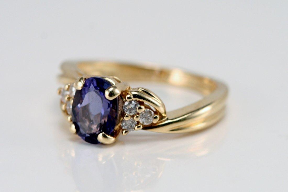 14KY/G DIAMOND & TANZANITE RING