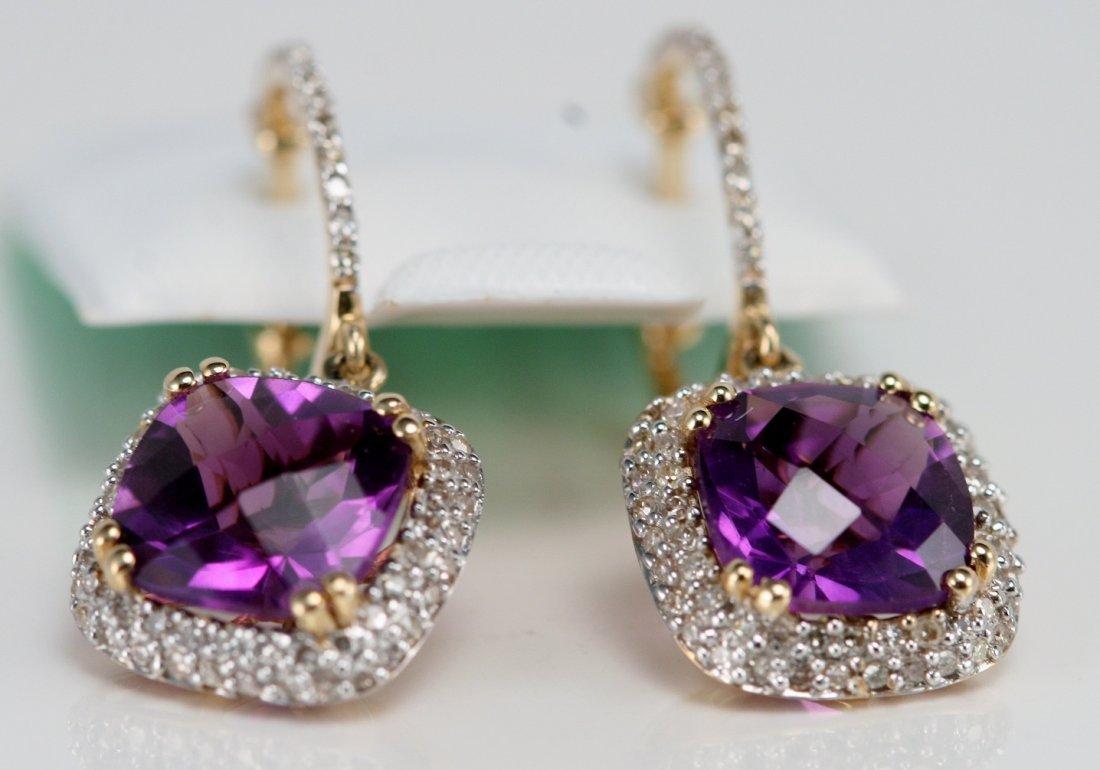 14K Y/G DIAMONDD AND AMETHYST EARRINGS