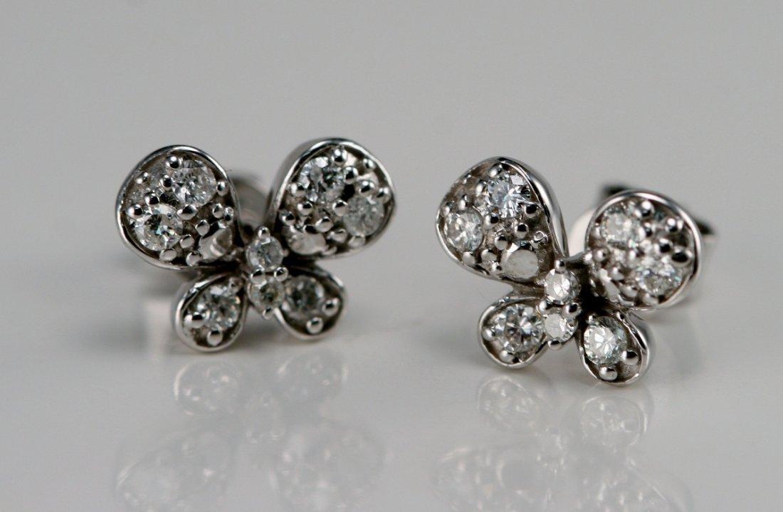 14K W/G DIAMOND BUTTERFLY EARRINGS