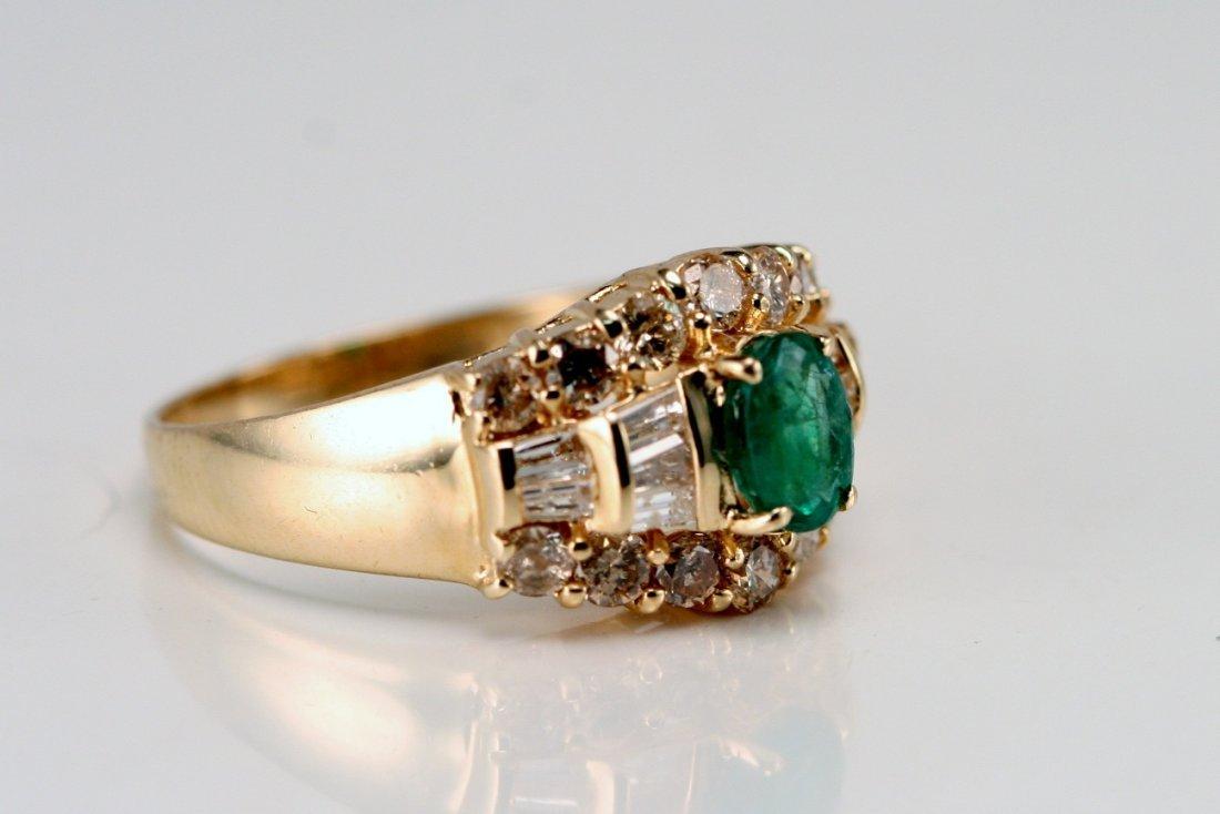 14K Y/G DIAMOND & EMERALD RING