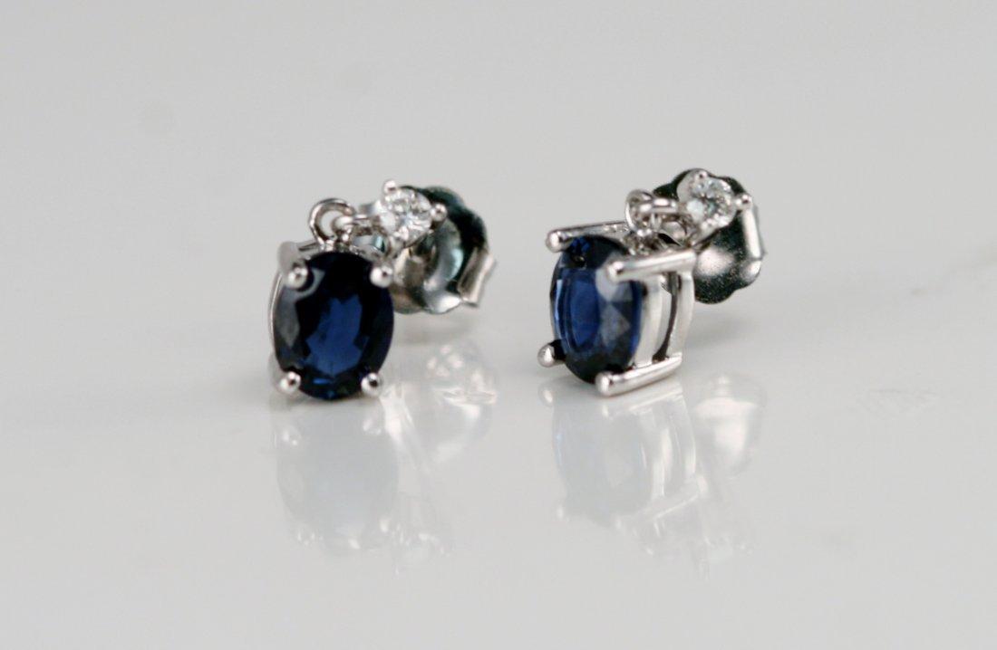 14K W/G DIAMOND & SAPPHIRE EARRINGS