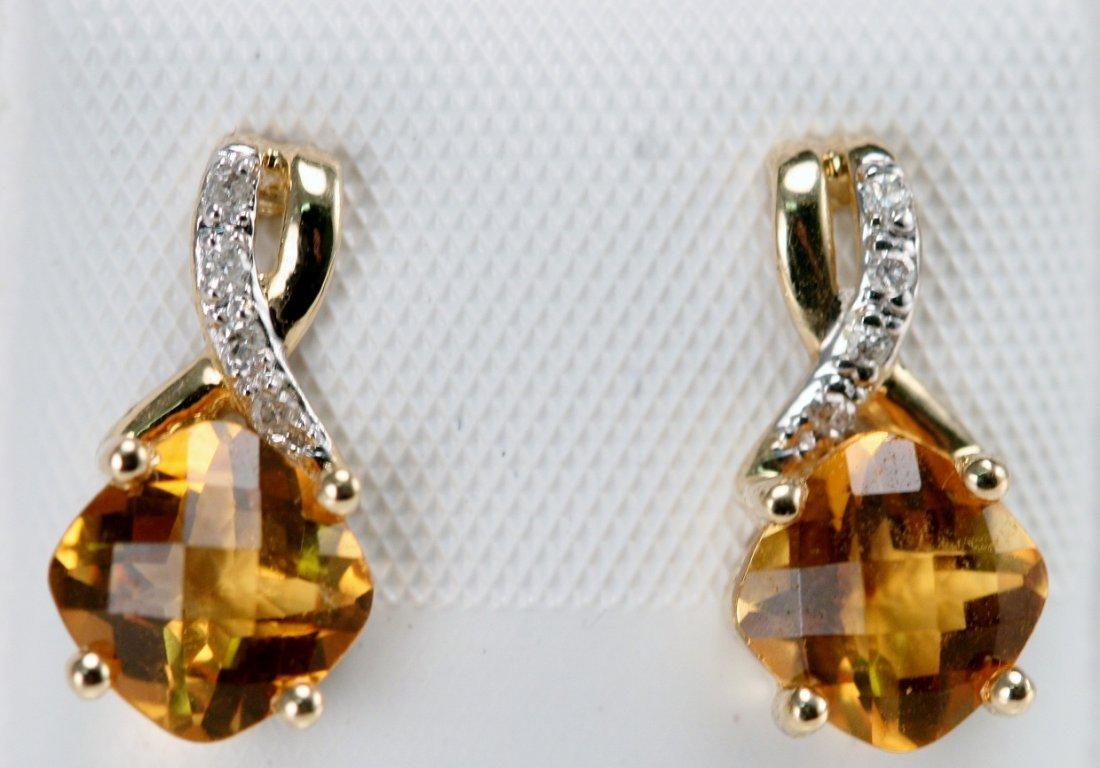14K Y/G DIAMOND AND CITRINE ER