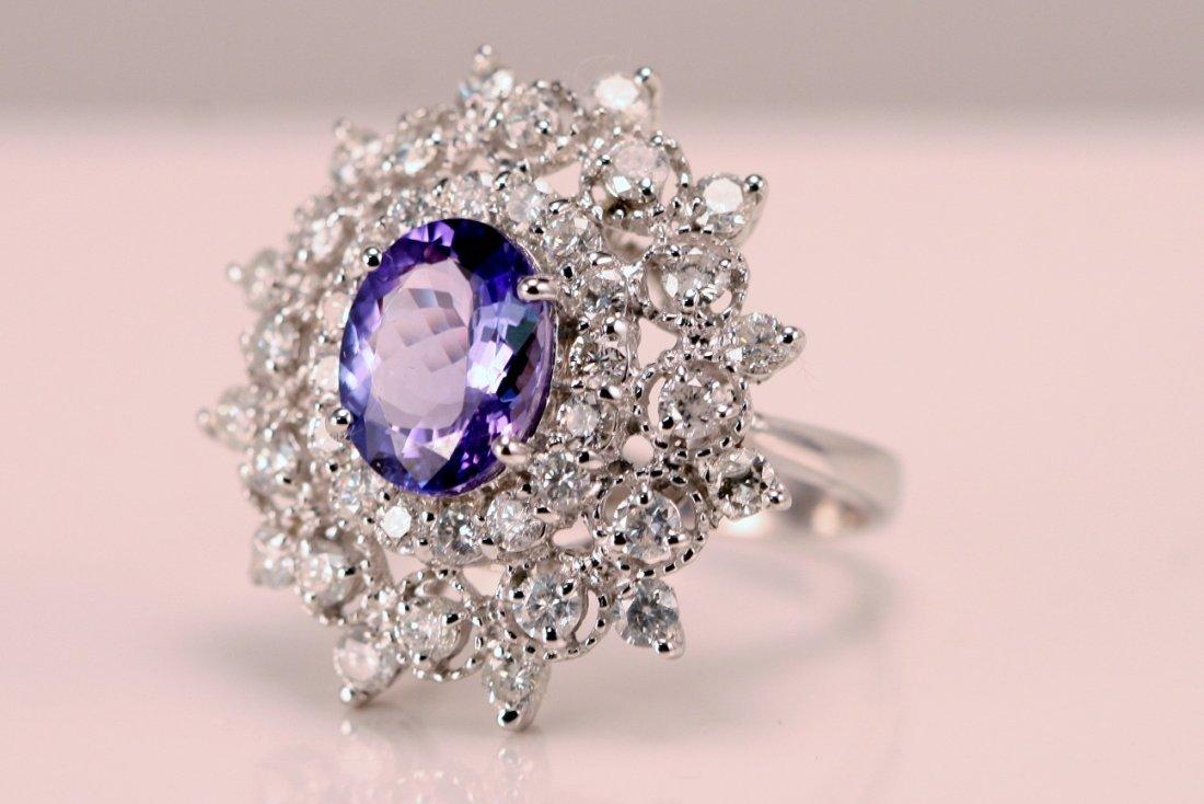 14k White Gold Diamond and Tanzanite Ring.