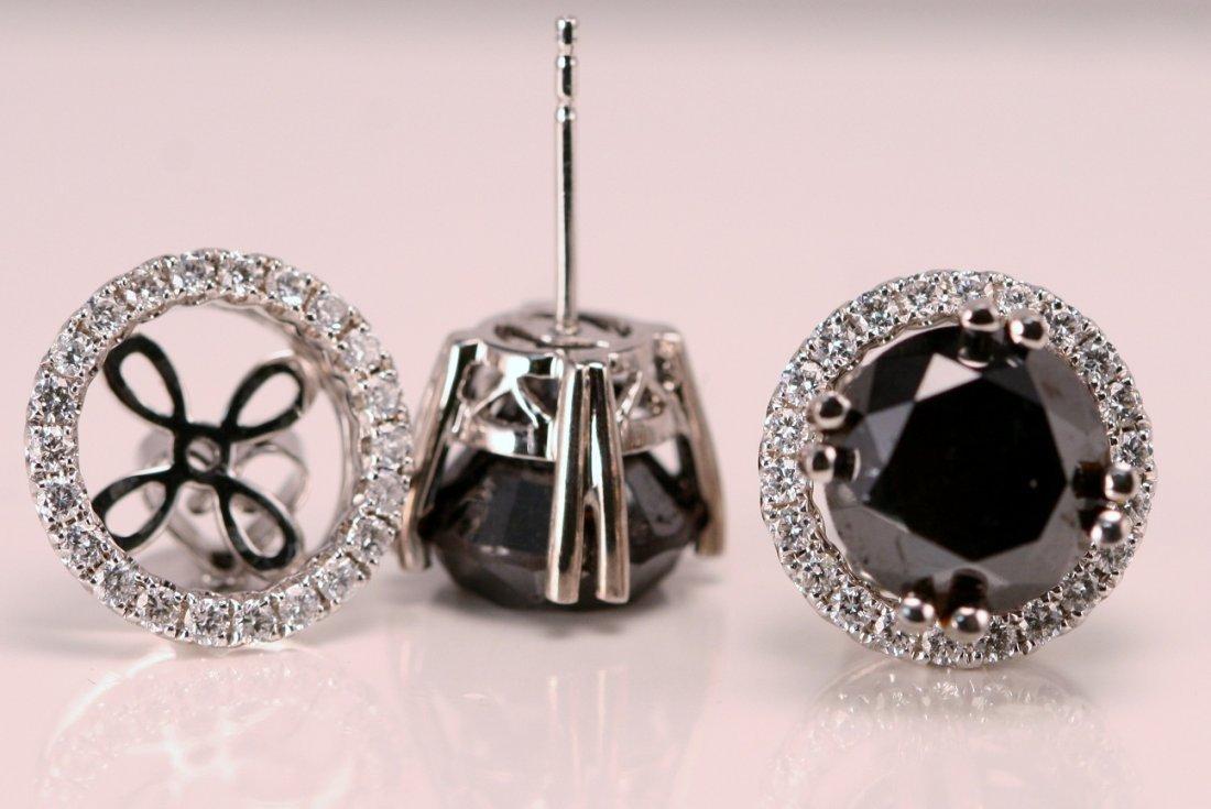 14k White Gold Black and White Diamond Earrings.